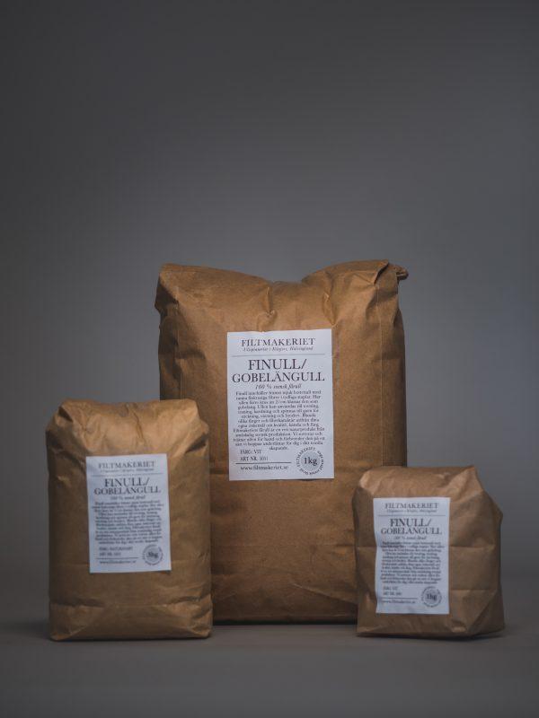 Filtmakeriets Finull/gobelägull 100 % svensk fårull 1 kg / 3 hg / 1 hg