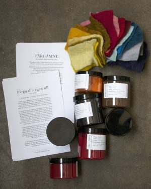 7 Färgämnen för fårull och andra animaliska fibrer från Filtmakeriet