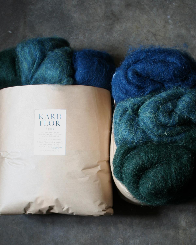 Kardflor 3-pack, Filtmakeriets kardflor 100 % svensk fårull